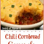 Chili Cornbread Casserole with scoop out in white oval baking dish