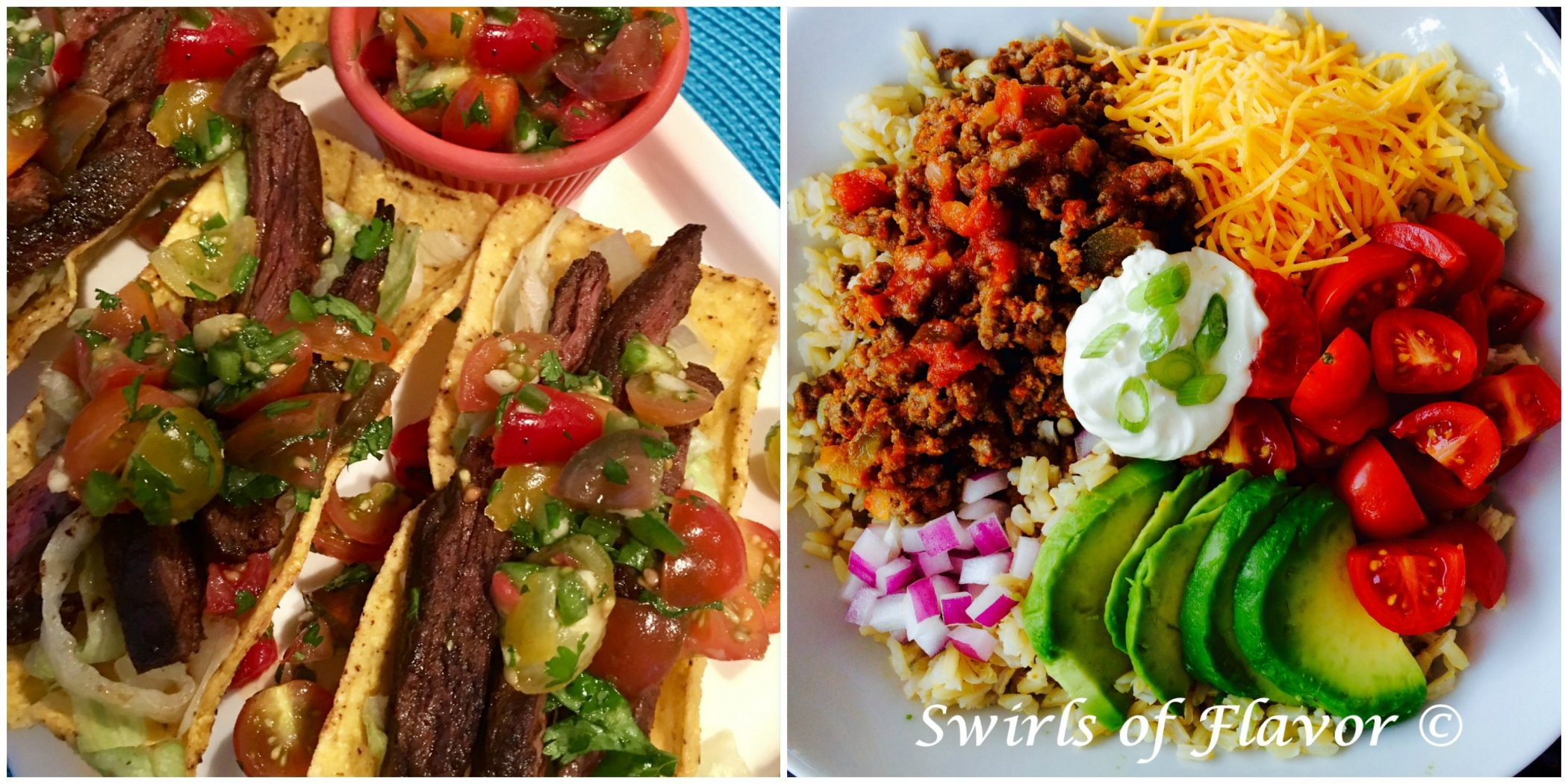 Spiced Skirt Steak Tacos and Brown Rice Taco Bowl