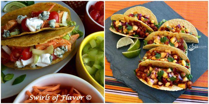 Buffalo chicken Tacos and Vegan Chickpea Tacos
