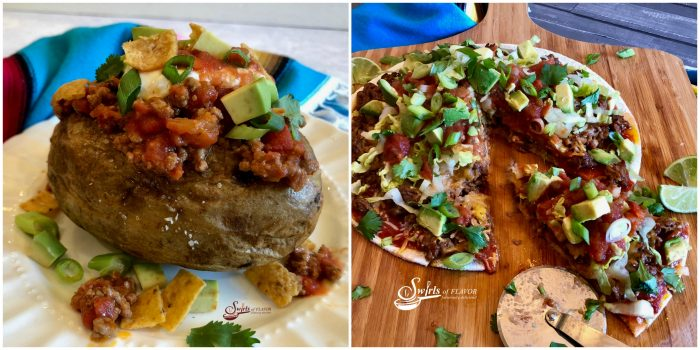 Taco Stuffed Potatoes and Taco Pizza