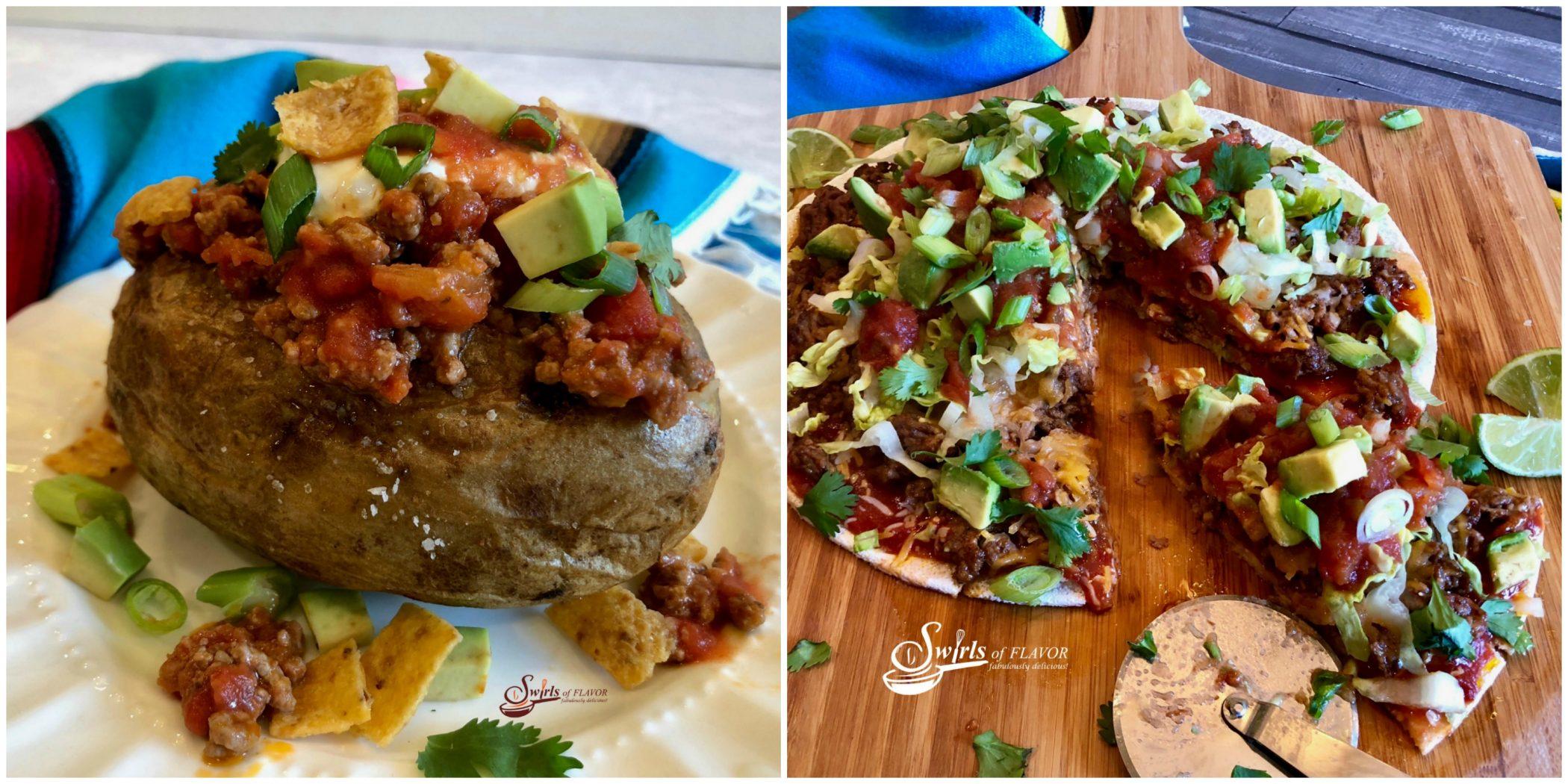 Taco Stuffed Potatoes and Taco Pizza