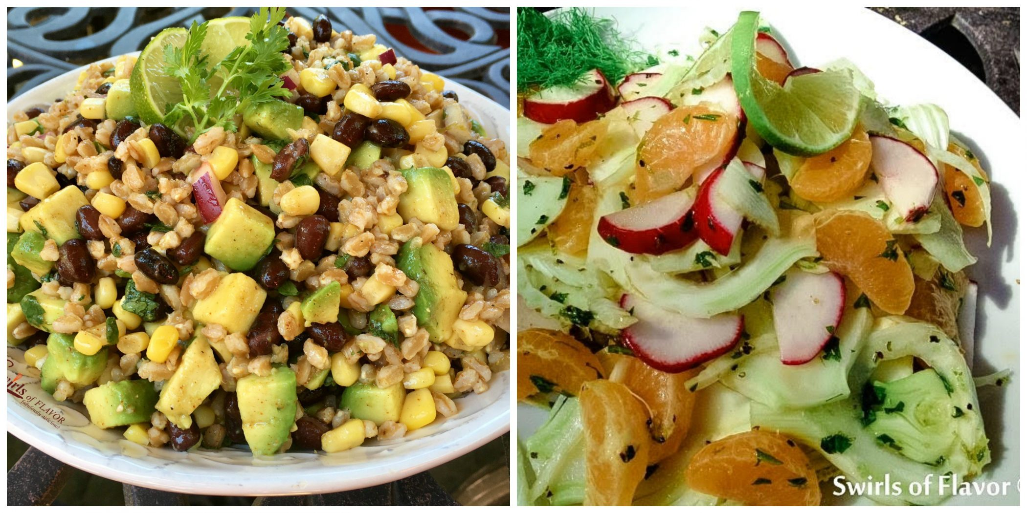 Farro Salad and Orange Radish Salad