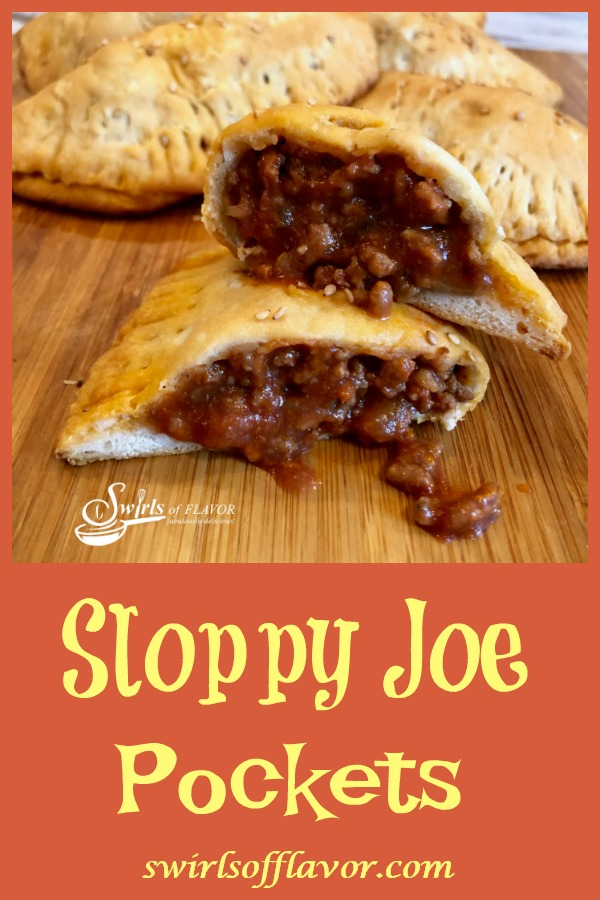 Tender biscuits filled with a saucy Sloppy Joe filling make Sloppy Joe Pockets a delicious on-the-go snack, fun for kids lunch or game day food for your Super Bowl party! An easy homemade Sloppy Joe filling makes every bite of these portable pockets ever so tasty!#sloppyjoe #homemadesloppyjoe #funforkids #gamedayfood #handhaldpockets #easyrecipe #superbowl #onthegofood #groundbeef #swirlsofflavor