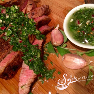 sliced steak with chimichurri sauce