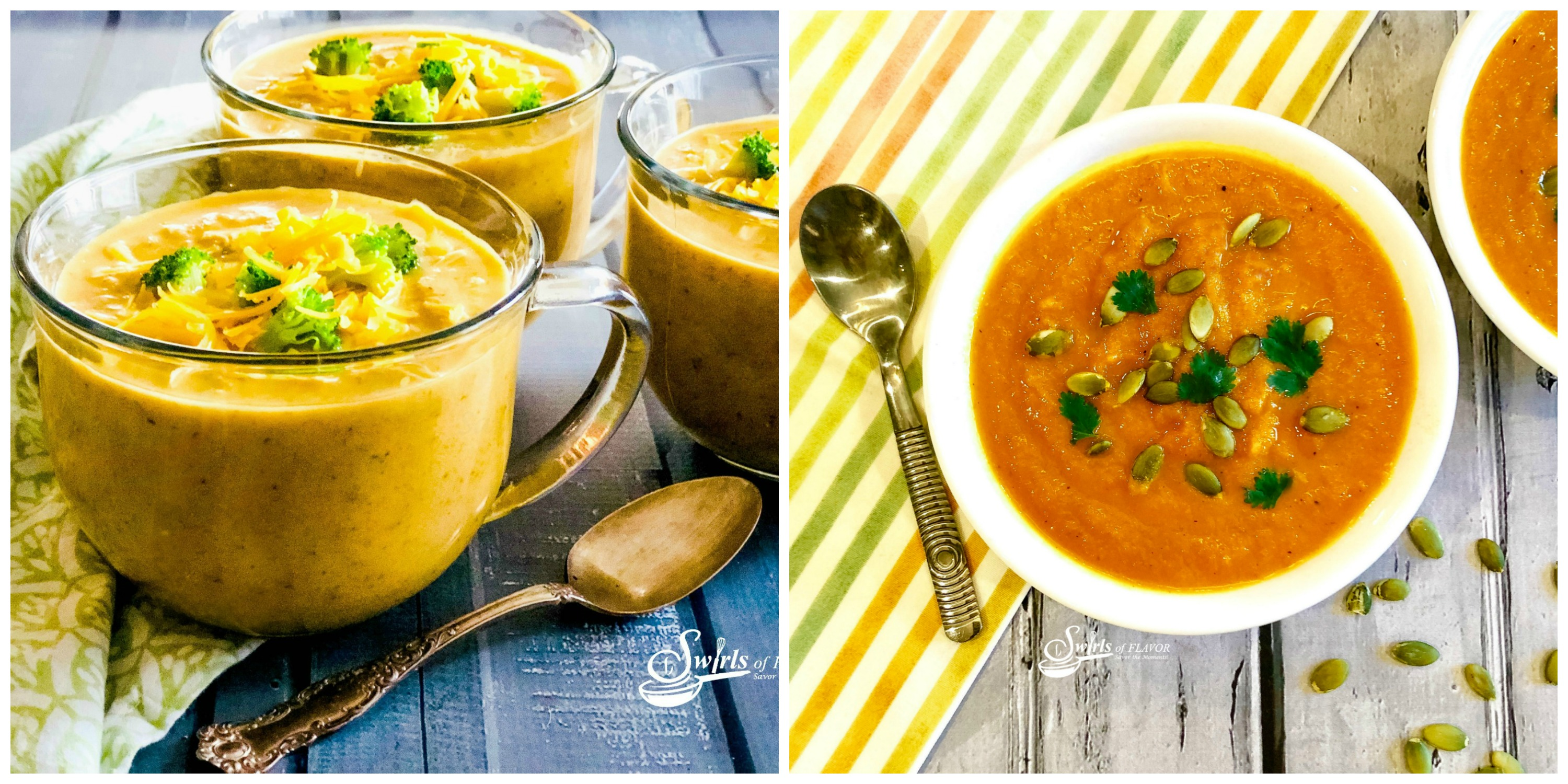 Broccoli Cheddar Soup and Ginger Carrot Soup