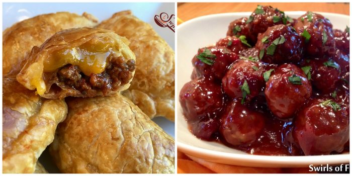 Cheeseburger Empanadas and Cranberry Meatballs