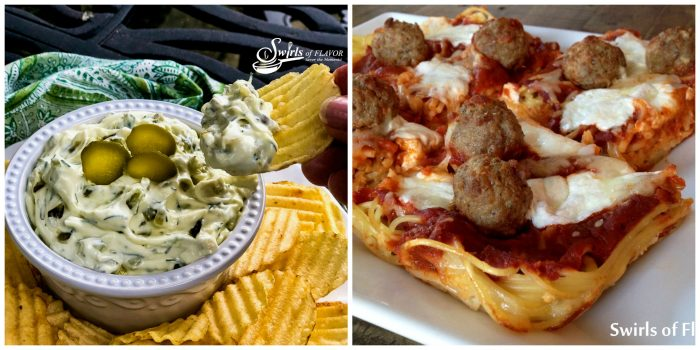 Dill PIckle Dip and Spaghetti and Meatball Pizza