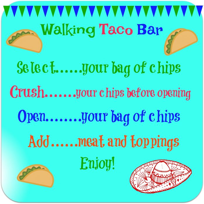 Our Walking Taco Bar is the perfect way to serve up a saucy taco filling and your favorite toppings for the big game. Crush the chips in your bag, top them with a flavorful beef taco filling, pile high with lots of taco toppings, add a plastic fork and you're all set! #beeftaco #portabletaco #walkingtacobar #tacosinabag #funforkids #gamedayfood #superbowl #easyrecipe #entertaining #swirlsofflavor