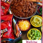 ground beef tacos and toppings with text overlay