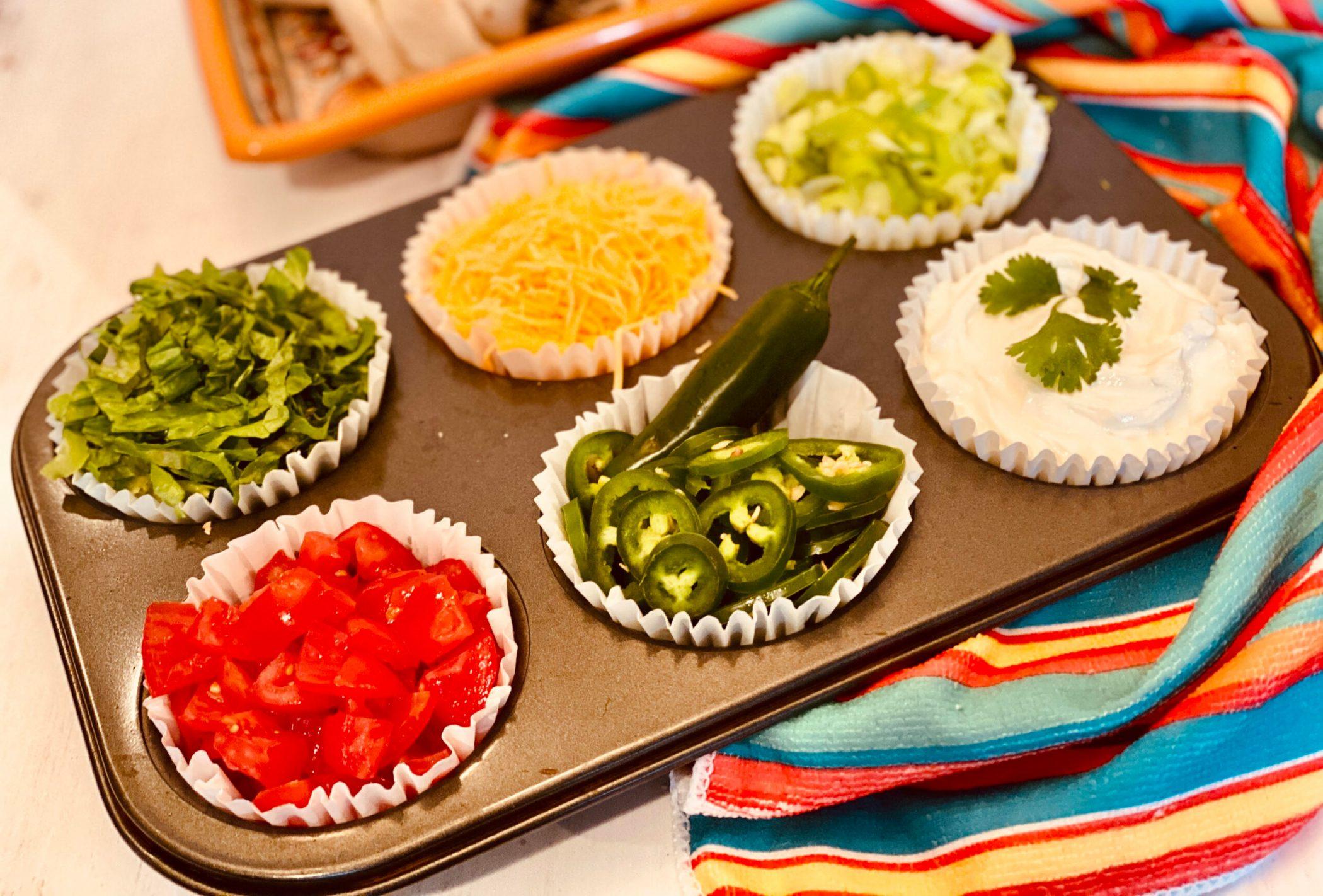 taco toppings in muffin tin