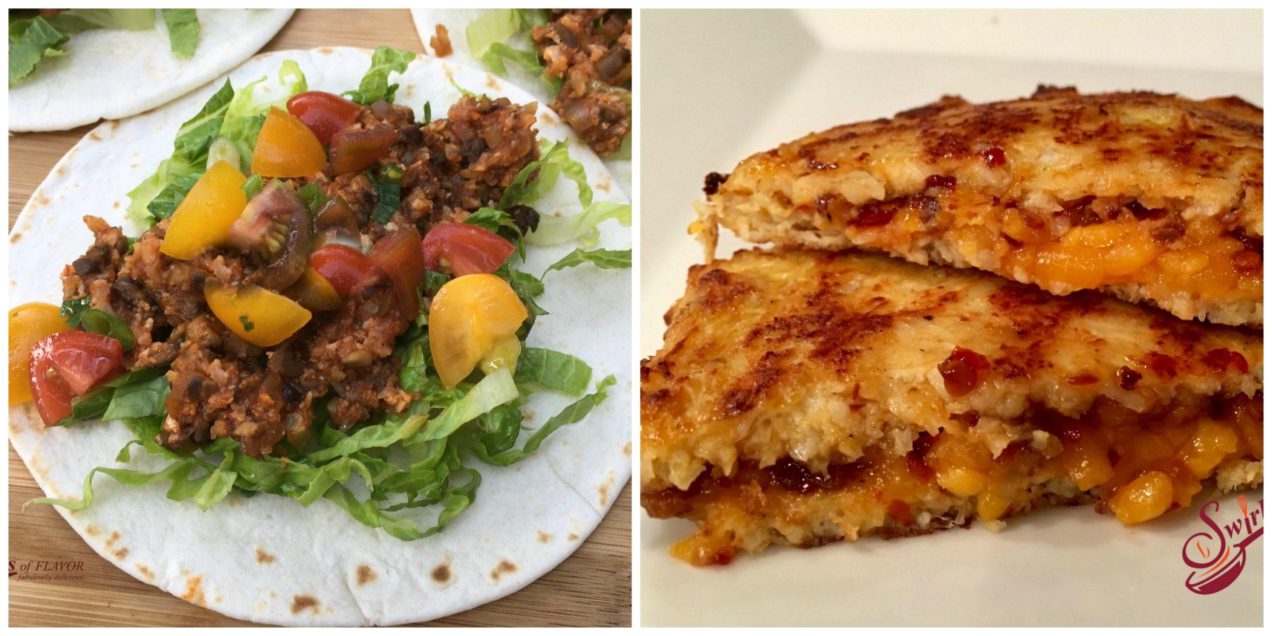 Cauliflower Tacos and Cauliflower Grilled Cheese