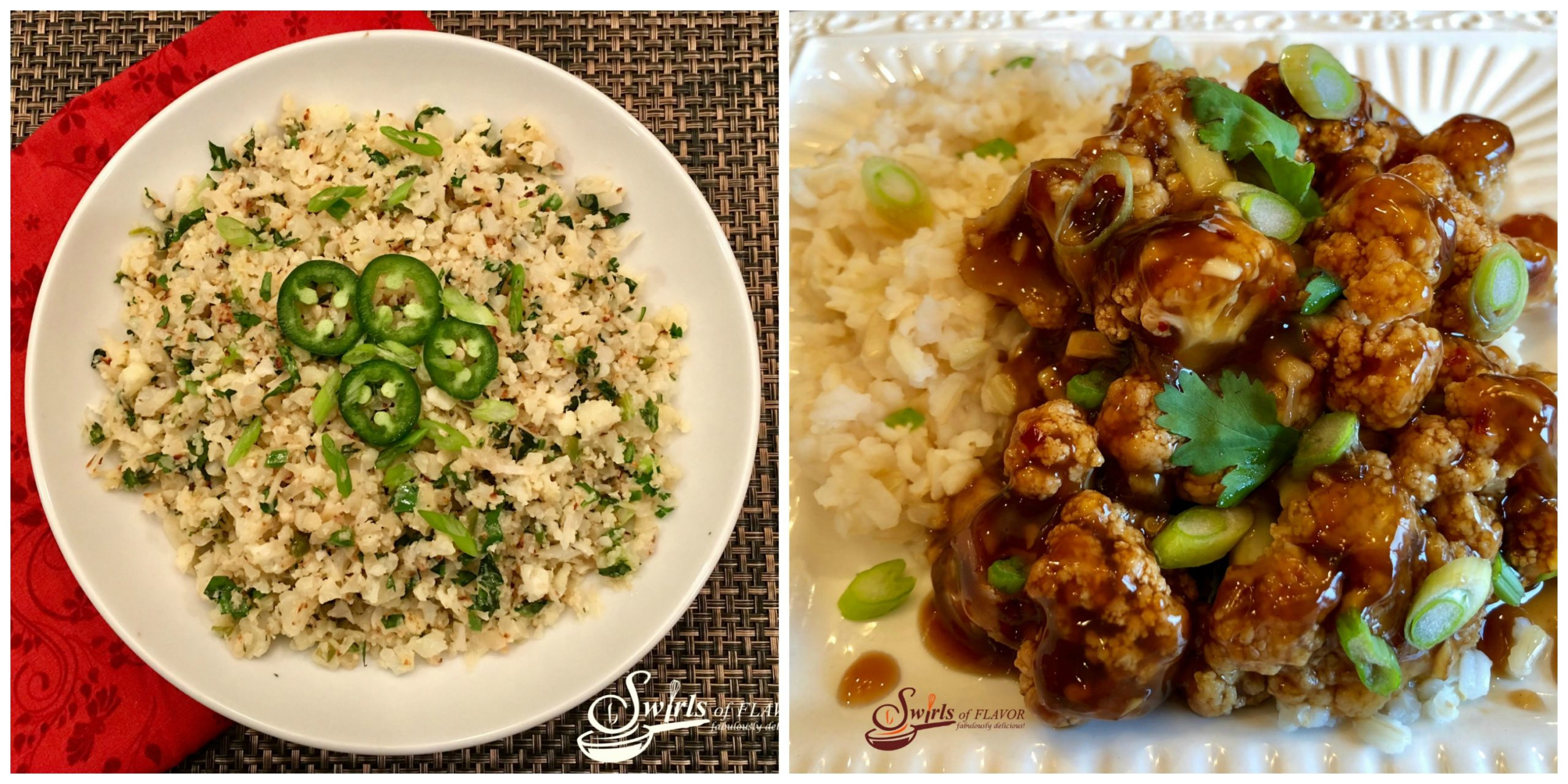Jalapeno Lime Cauliflower Rice and General Tso's Cauliflower