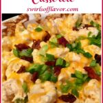 loaded cauliflower casserole with text overlay