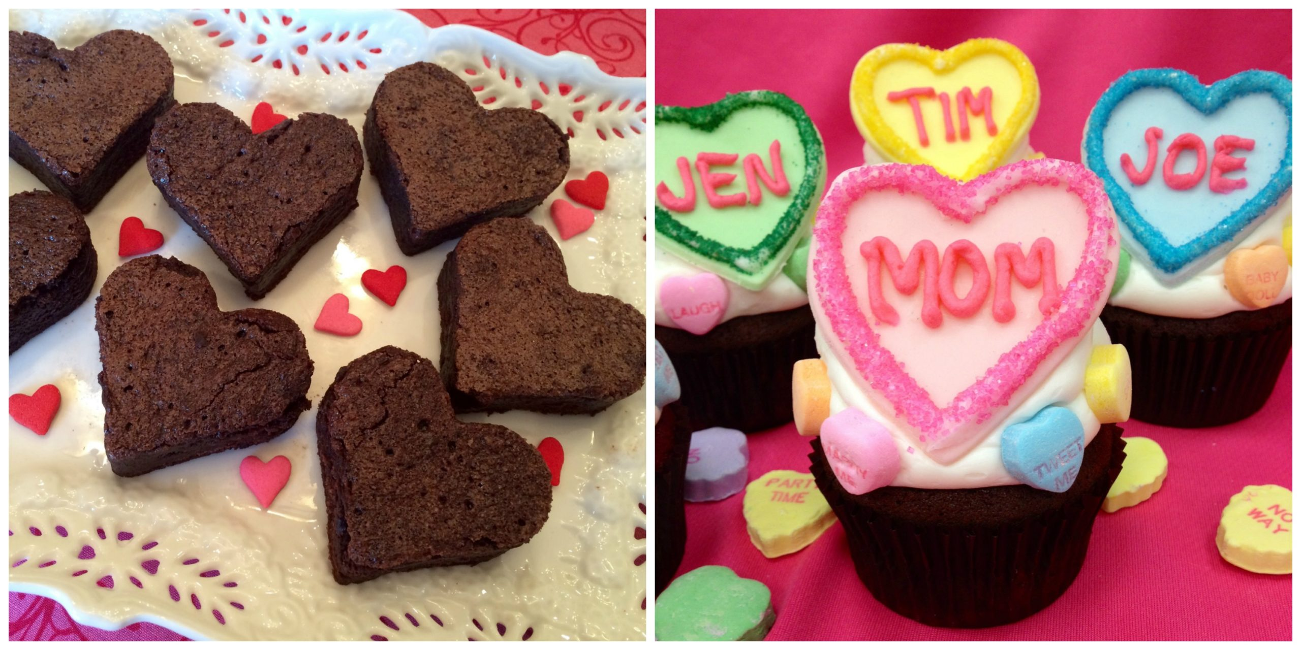 Heart Brownies and Conversation heart Cupcakes