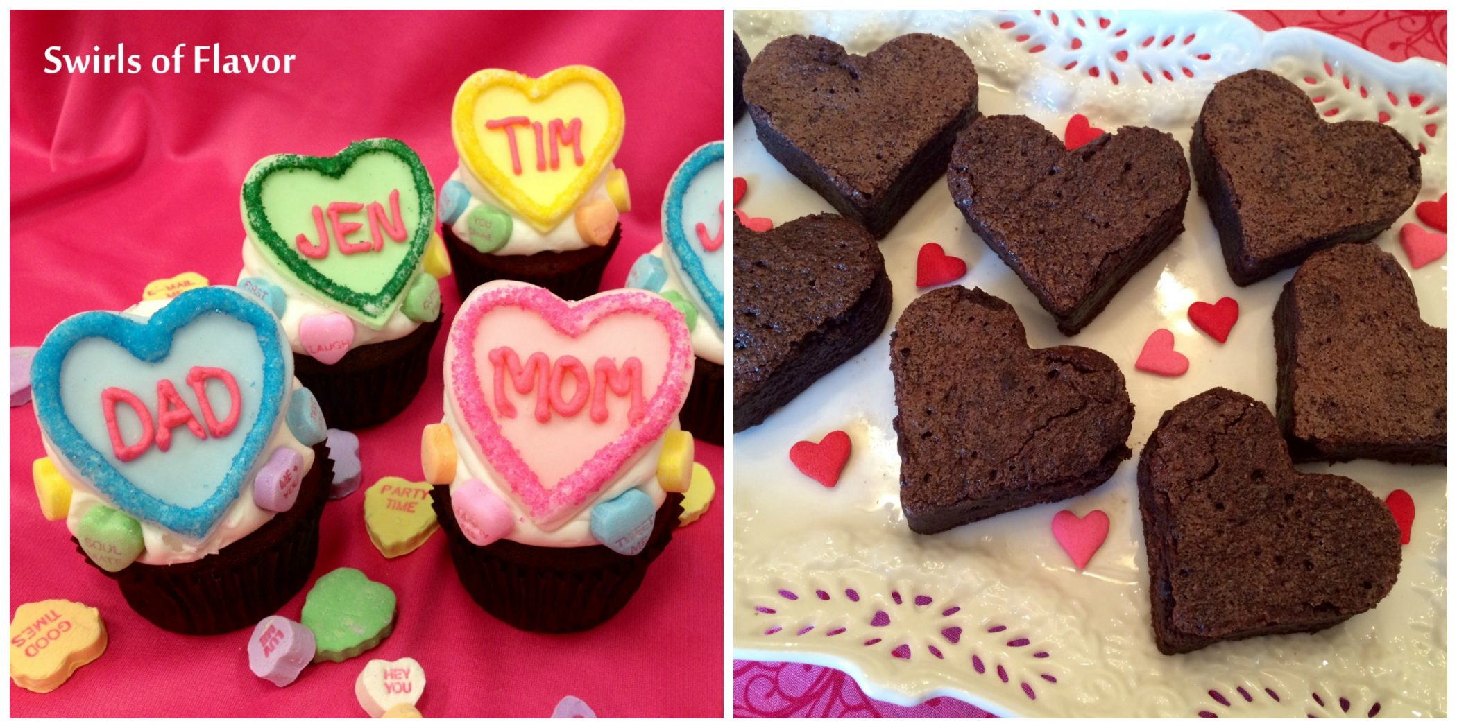 Conversation Heart Cupcakes and heart brownies