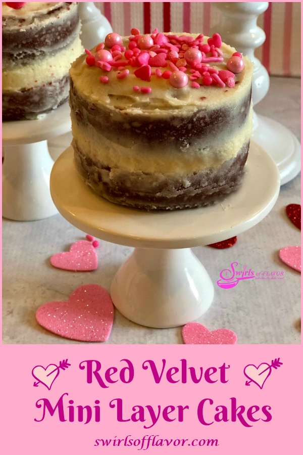 Our Red Velvet Mini Layer Cakes is an easy from scratch cake recipe for your Valentine's Day dessert. Our mini homemade cake layers have a deep intense red color and are flavored with cocoa powder for a delicious chocolate flavor. Red Velvet Mini Layer Cakes are perfect for sharing on Valentine's Day. #redvelvet #valentinesday #valentinesdessert #minilayercake #minilayercakes #redvelvetcake #dessertfortwo #swirlsofflavor