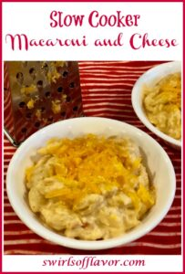 bowls of macaroni and cheese with text overlay