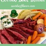 corned beef and cabbage dinner with text overlay