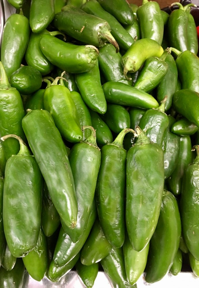 Fresh green jalapenos from the farmers market.
