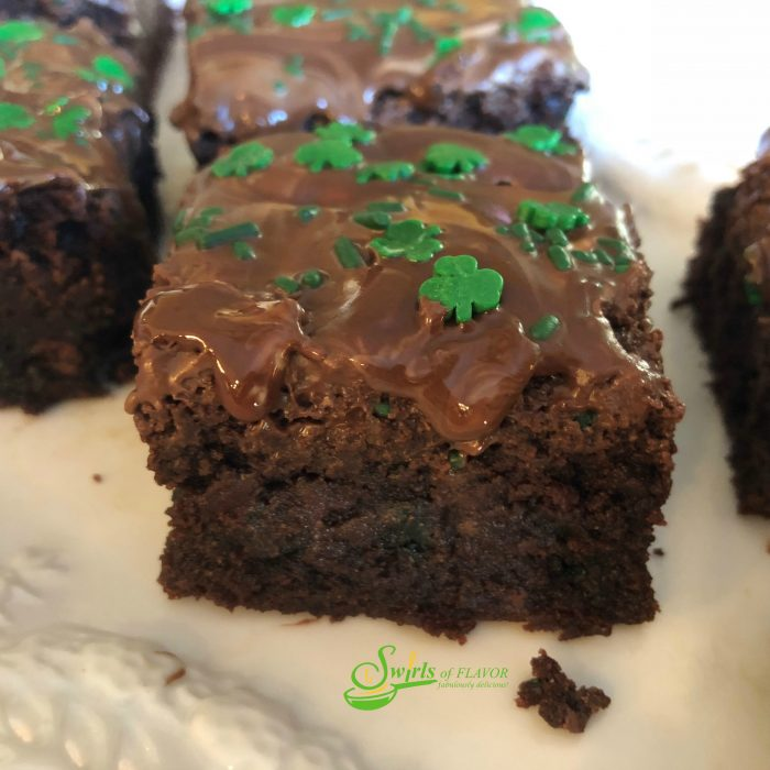 Homemade Chocolate Chip Mint Brownies, topped with a one ingredient mint frosting, is an