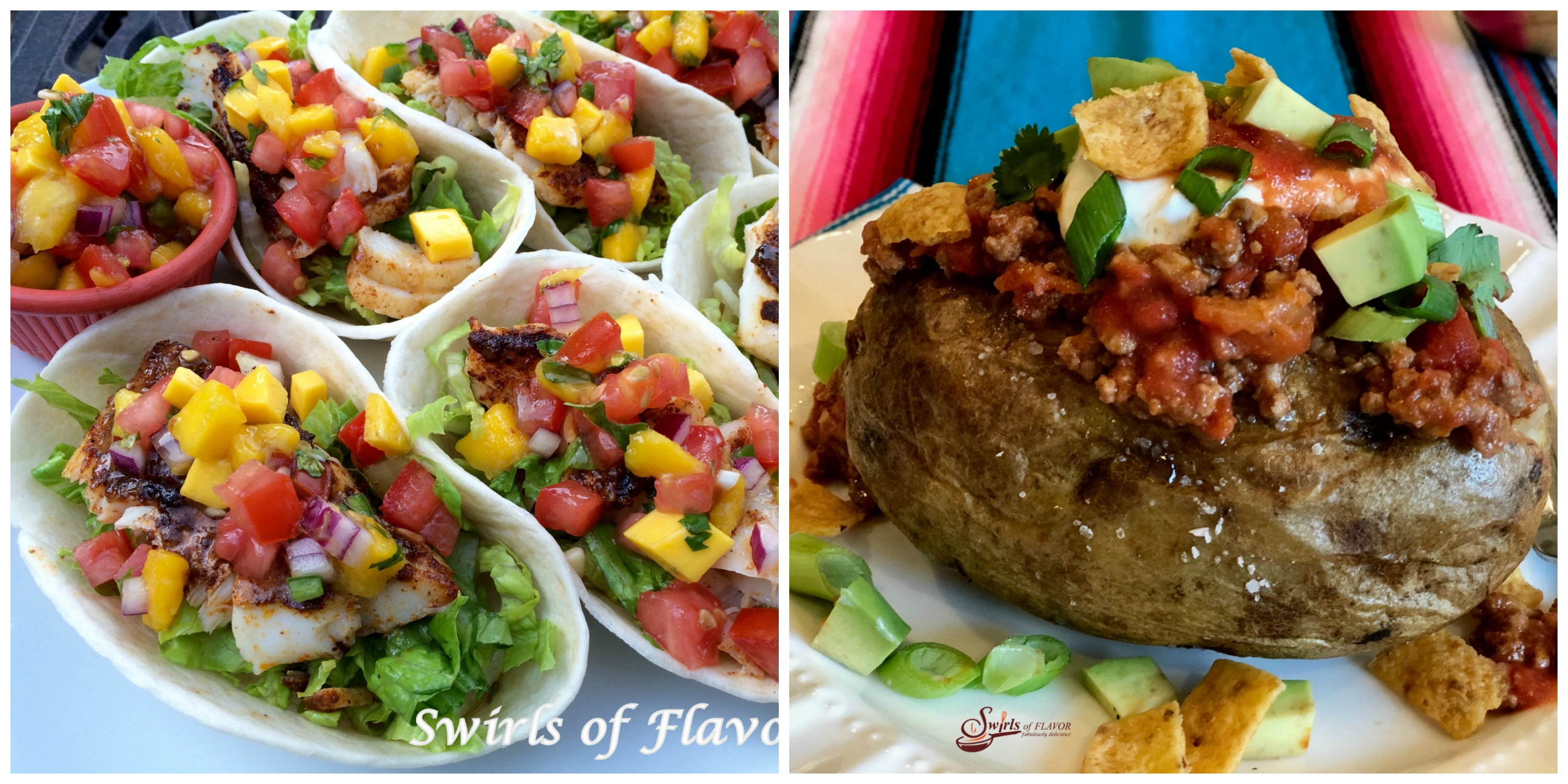 Fish Tacos and Taco Stuffed Potatoes