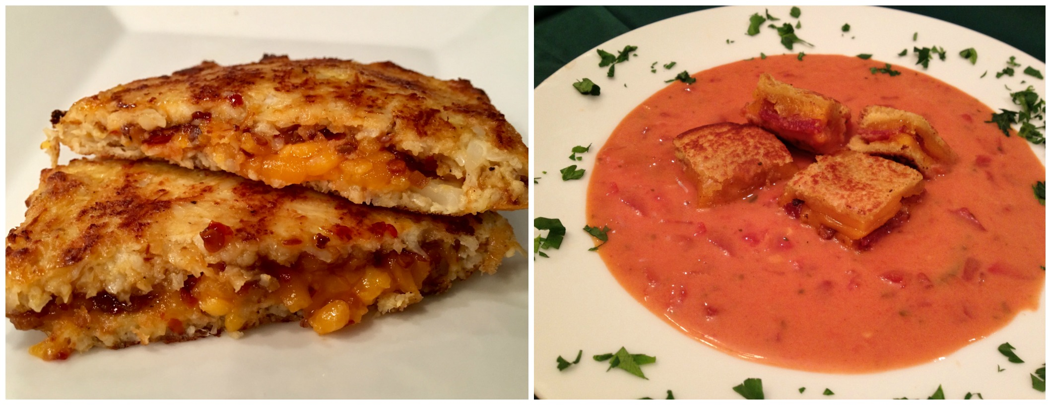 Cauiflower grilled cheese sandwich and tomato soup with grilled cheese croutons