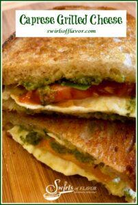 Grilled cheese sandwich with mozzarella, tomato and pesto