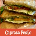 caprese pesto grilled cheese sandwich halves stacked