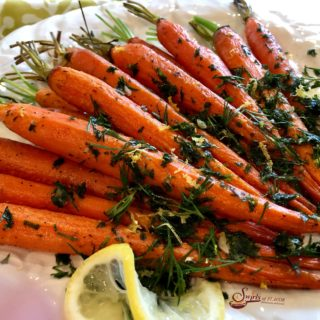 Welcome in spring with our Roasted Carrots With Carrot Top Gremolata, an easy vegetable recipe that's fancy enough for entertaining and holidays. Carrots are oven roasted to a buttery perfection and topped with a mixture of fresh carrot top greens, dill, lemon, garlic and olive oil.