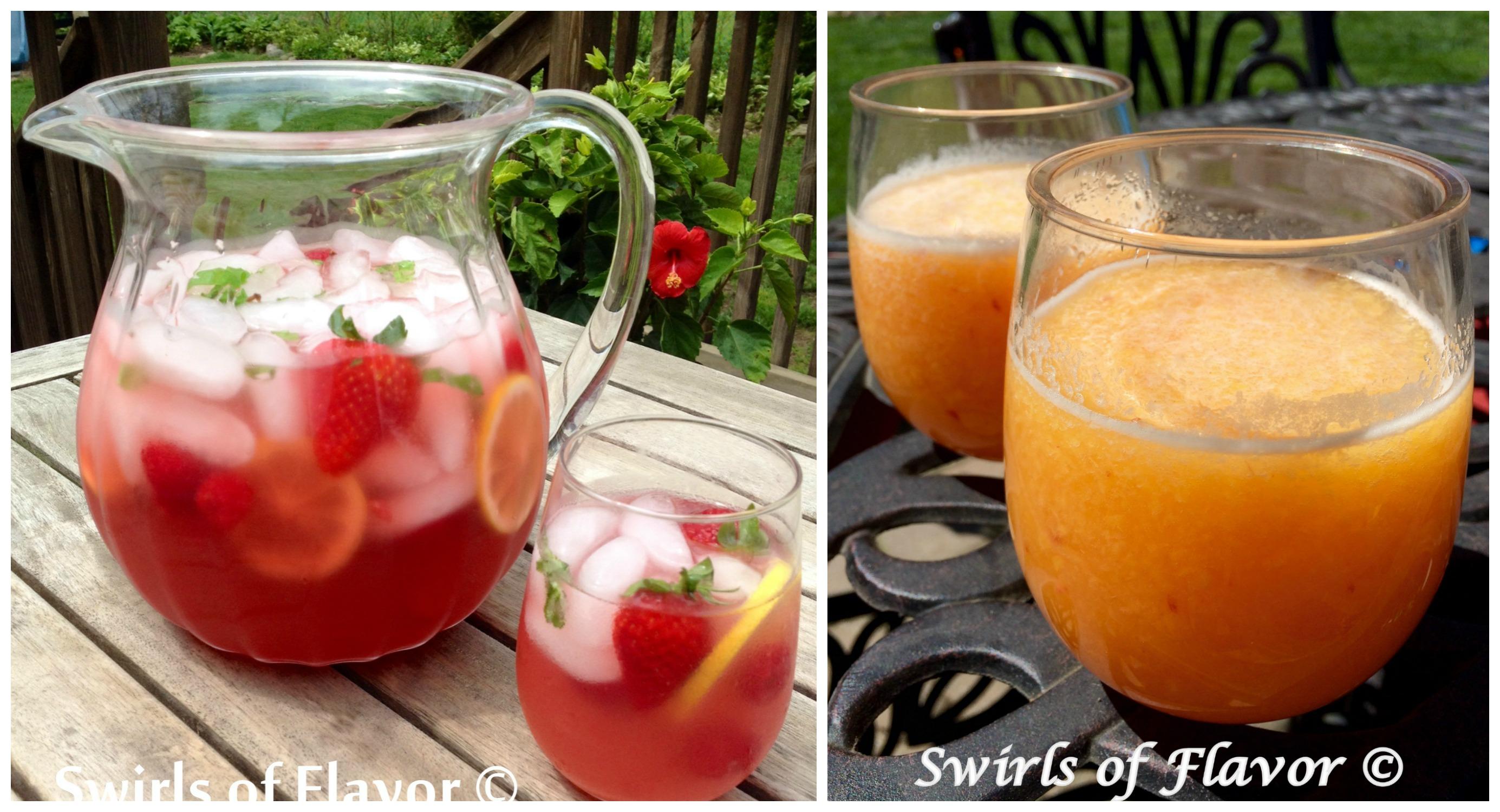 Lemonade Prosecco Punch and Peach Bellini Slushy