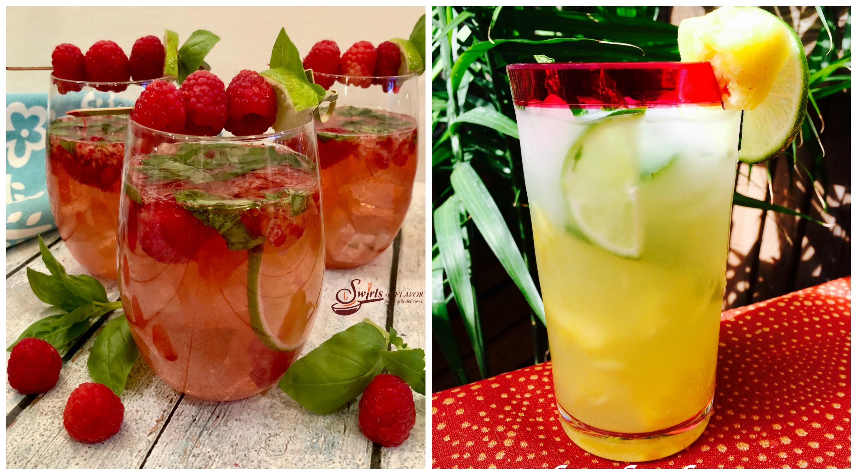 Basil Raspberry Sangria and Pineapple Mojito