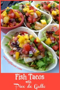 Fish tacos with mango pico de gallo in soft shell tortilla boats