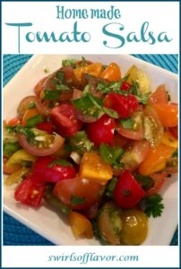 homemade tomato salsa in bowl with text overlay