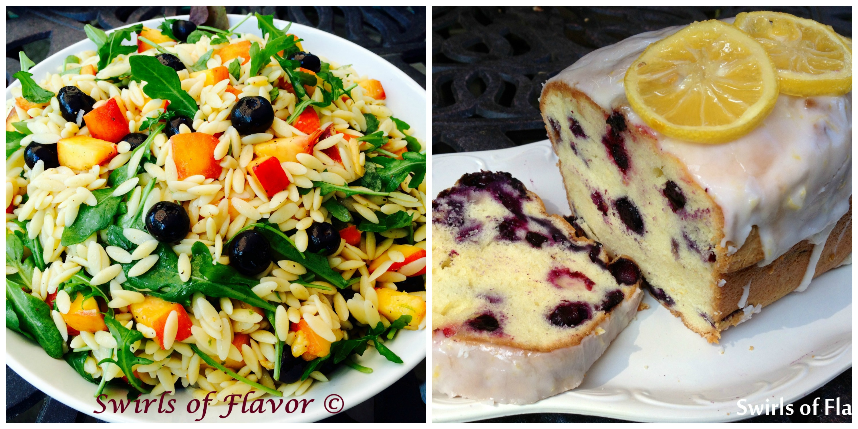 Blueberry Peach Orzo and Meyer Lemon Blueberry Loaf Cake