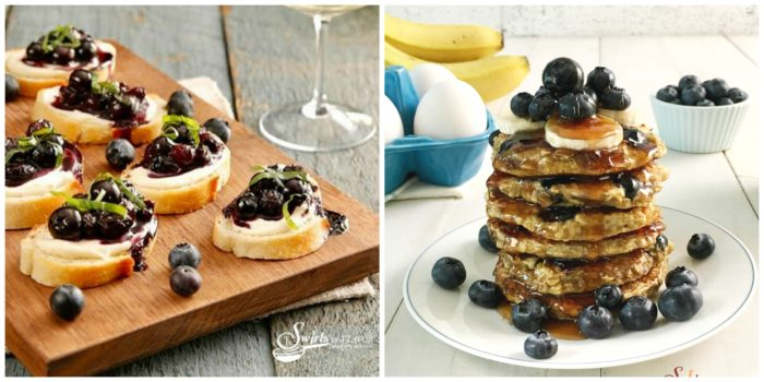 Balsamic Blueberry Mascarpone Crostini and Gluten Free Blueberry Pancakes