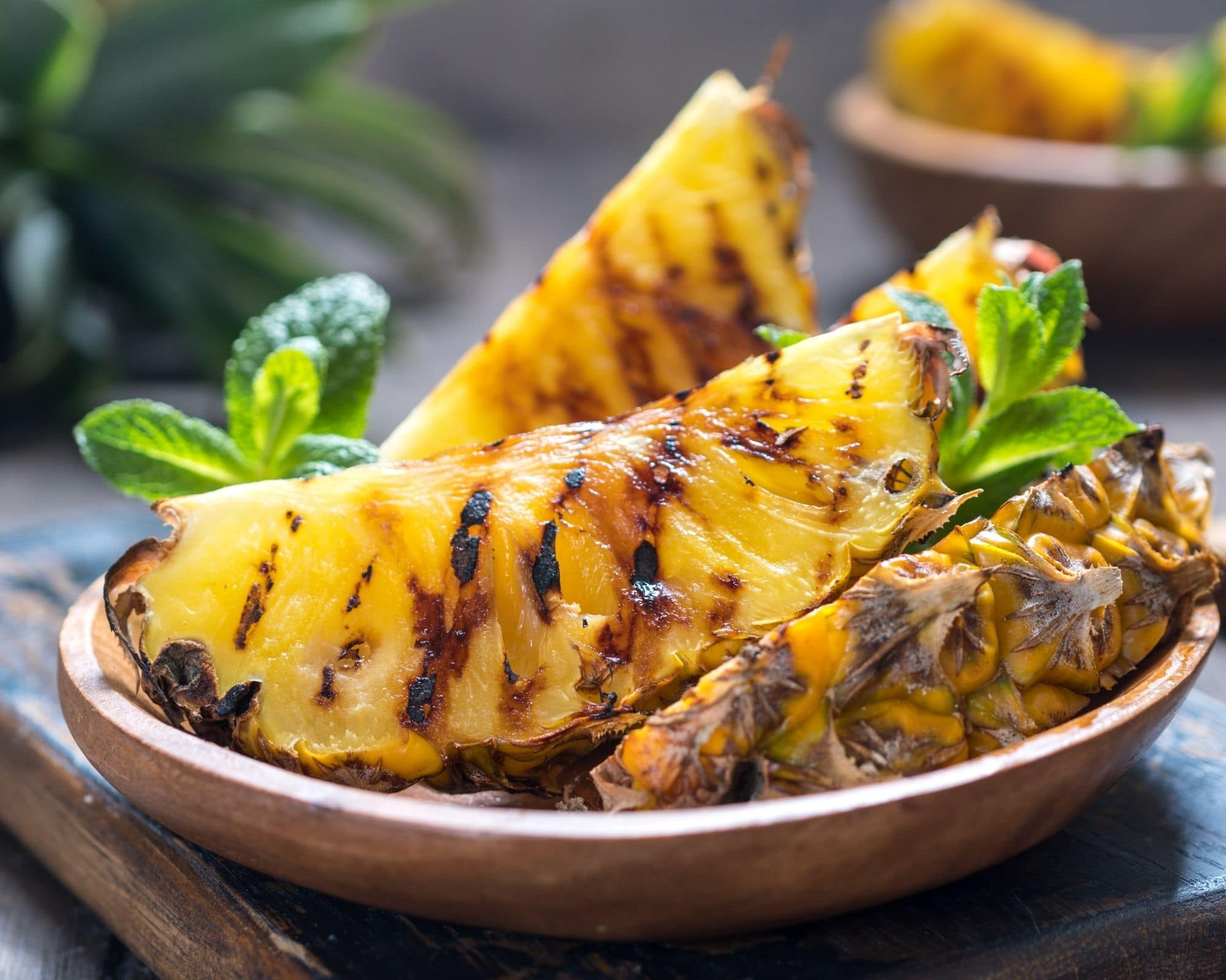 grilled fresh pineapple wedges