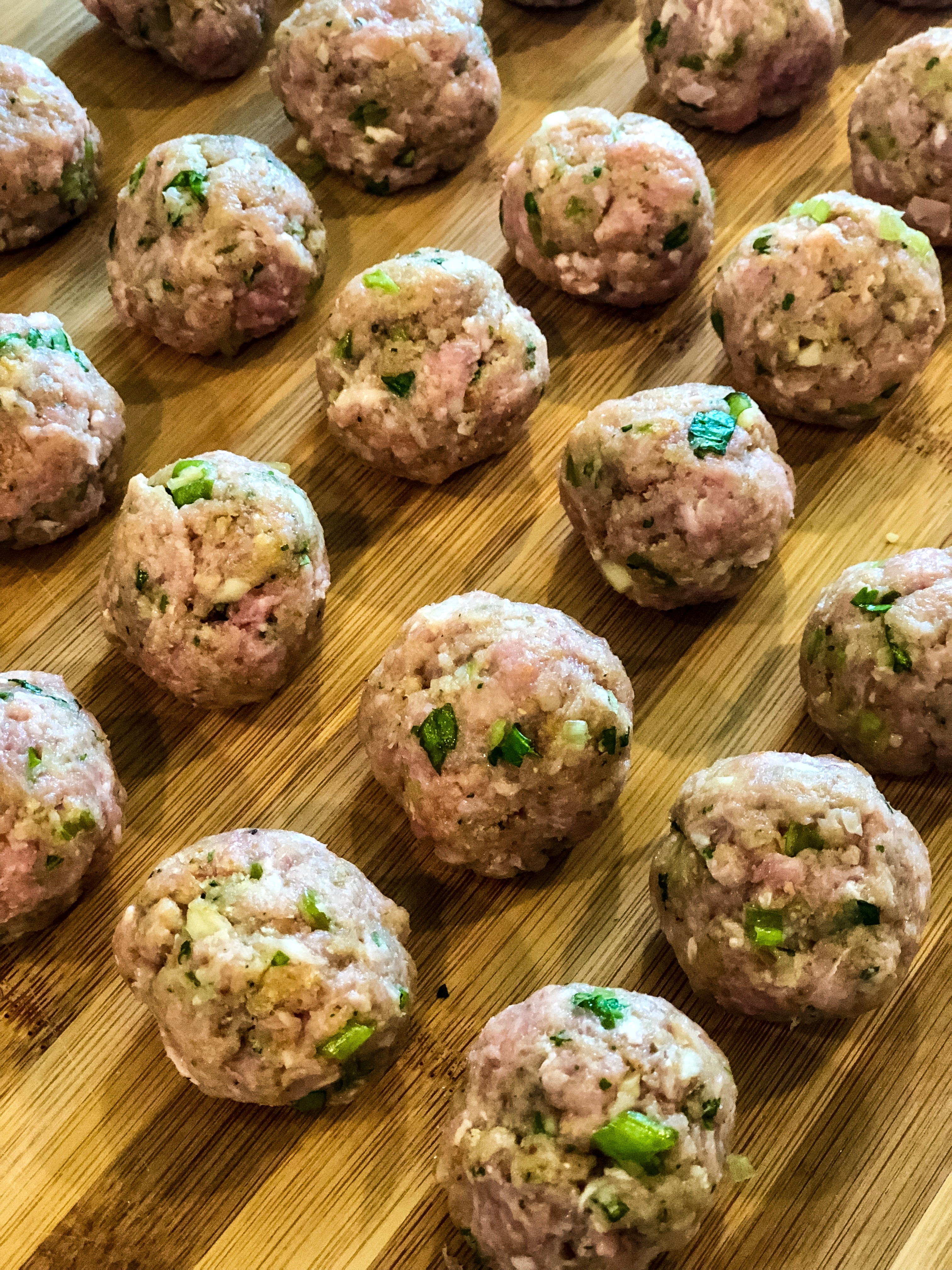 shaped mini meatballs before cooking