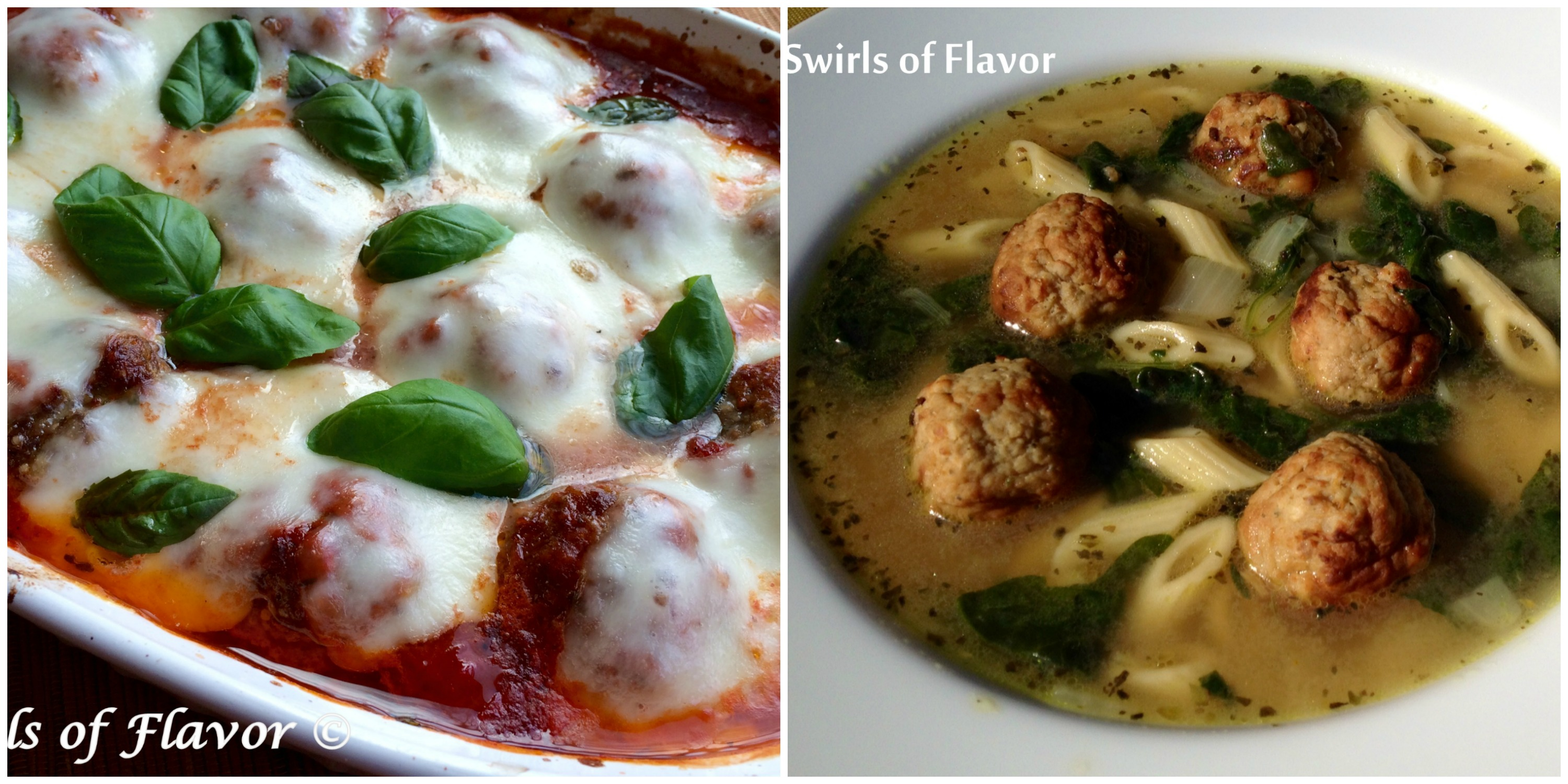 Baked meatballs Parmesan and Italian Wedding Soup