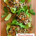 Thai chicken in lettuce leaves