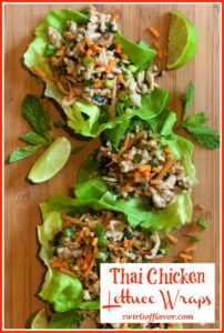 Thai chicken in lettuce leaves