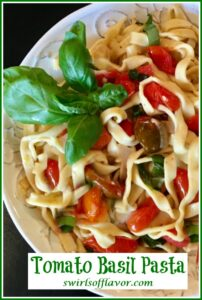 Fettuccine with tomatoes and basil