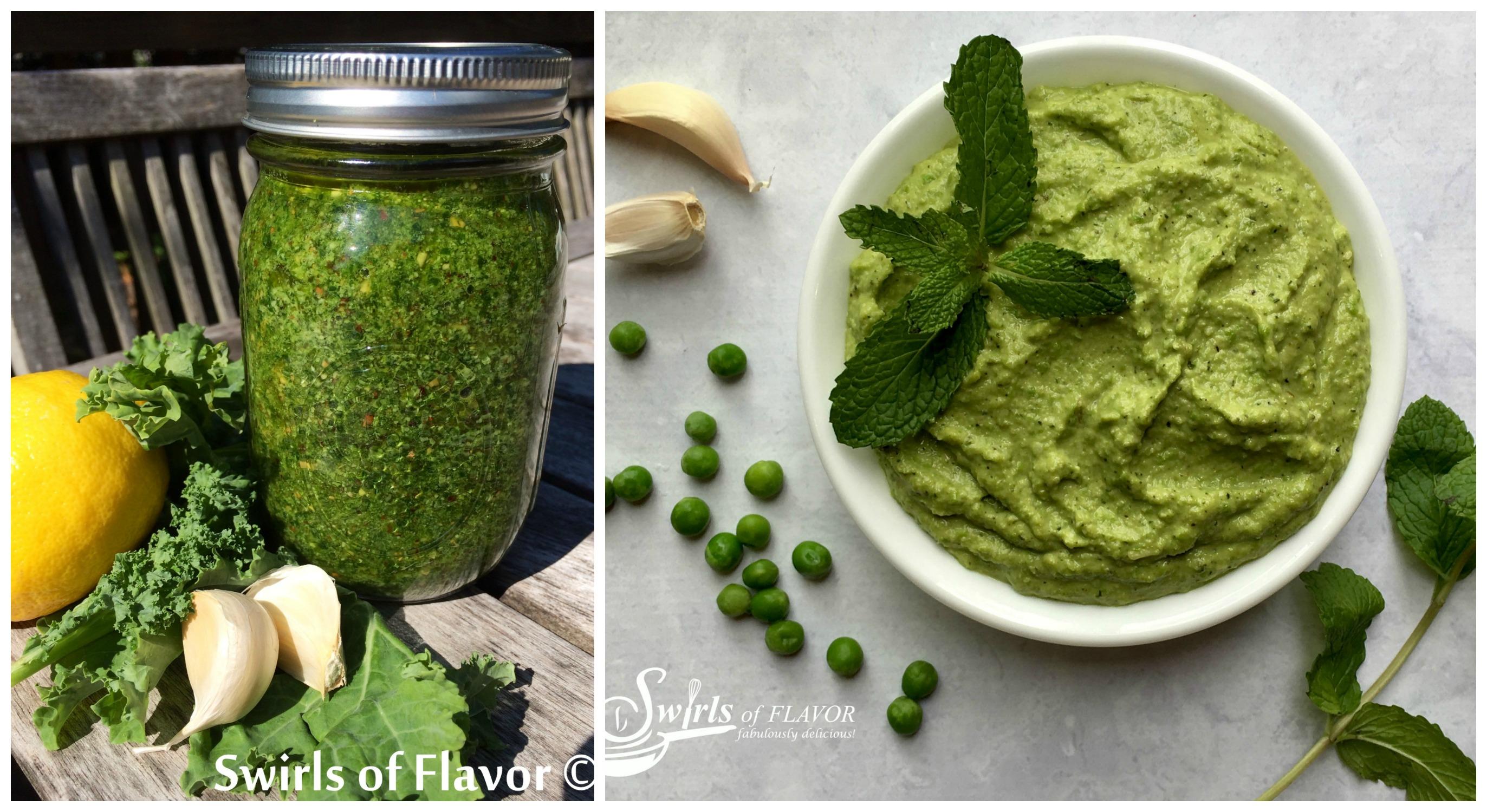 Kale Pesto and Spring Mint Pesto