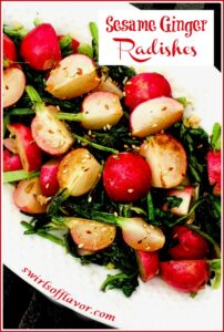 Sauteed radishes and radish greens on a white platter