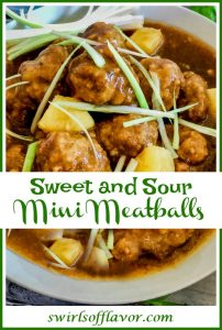 Sweet and Sour Meatballs is an easy recipe for mini meatballs flavored with fresh ginger, cilantro, scallions and garlic, shaped into mini meatballs and simmered in a homemade sweet and sour sauce.