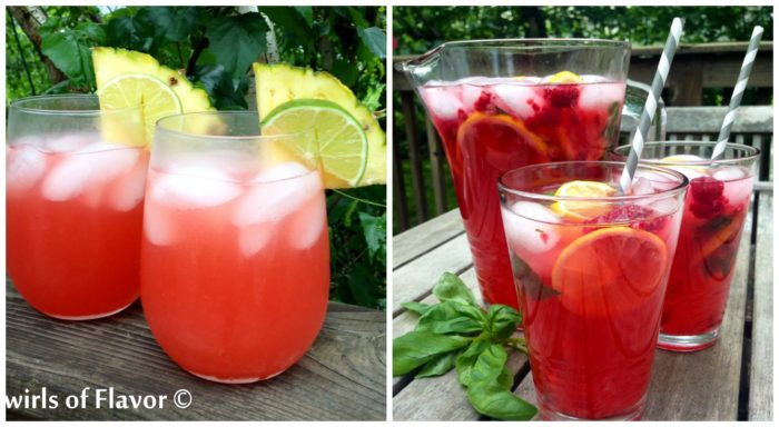 Caribbean sunset Cocktail and Raspberry Basil lemonade Punch