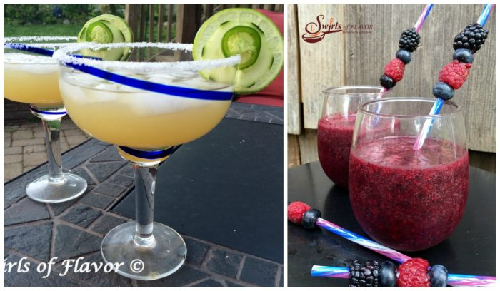 Jalapeno cucumber Margarita and Berry Sangria Slushy