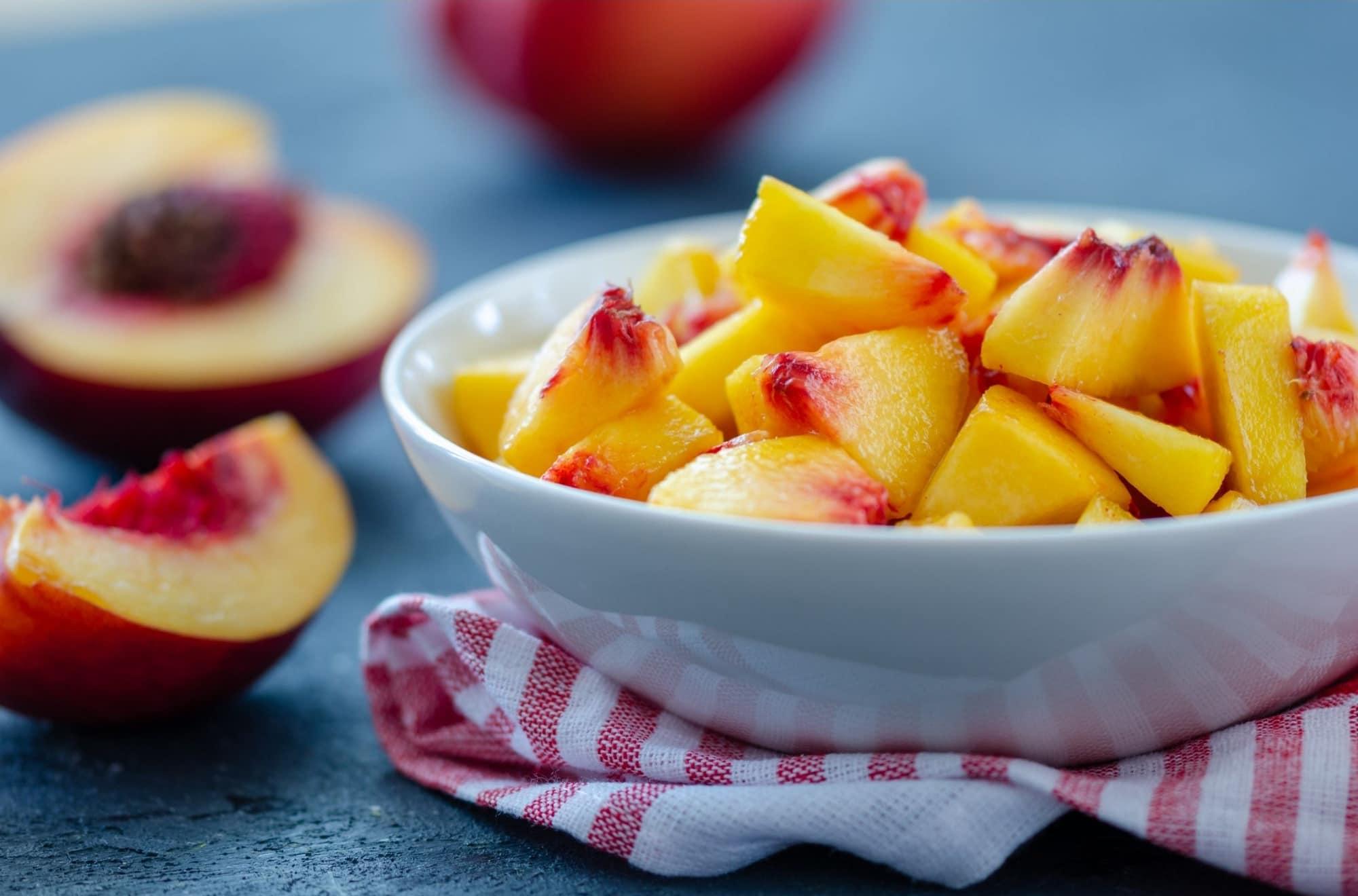 bowl of chopped peaches
