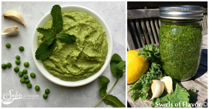 Spring Mint Pea Pesto and Kale Pesto