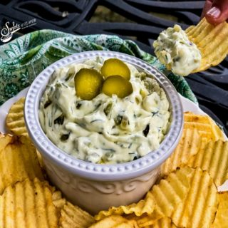 Dill pickle dip with potato chip