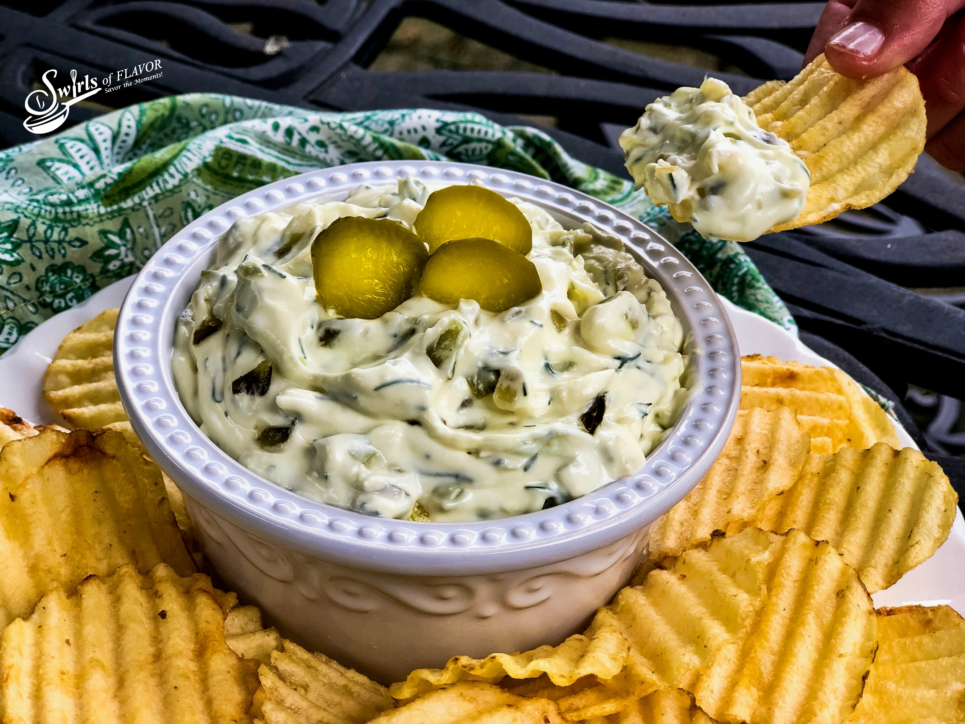 dill Pickle Dip with scoop on chip